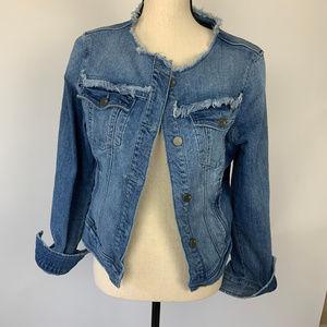 NY&CO Denim Distressed Jean Jacket Size Medium